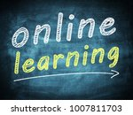 online learning text concept on ... | Shutterstock . vector #1007811703