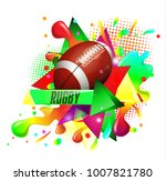 pattern design with rugby ball  ...   Shutterstock .eps vector #1007821780