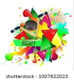 hockey  crossed hockey sticks... | Shutterstock .eps vector #1007822023