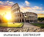 view of colosseum in rome and... | Shutterstock . vector #1007843149