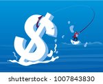 businessman fishing in the sea | Shutterstock .eps vector #1007843830