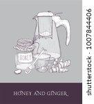 elegant glass teapot or pitcher ... | Shutterstock .eps vector #1007844406