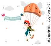 little boy in love  flying with ... | Shutterstock .eps vector #1007845246