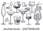 alcoholic drinks set. glass of... | Shutterstock .eps vector #1007848240