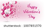 pink and white ballons with... | Shutterstock .eps vector #1007851570