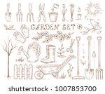spring hand drawn garden set of ...   Shutterstock .eps vector #1007853700