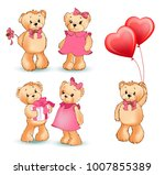 teddy bear collection of... | Shutterstock .eps vector #1007855389