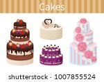 cakes various delicious... | Shutterstock .eps vector #1007855524