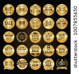 retro labels and badges golden... | Shutterstock .eps vector #1007855650