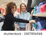 beautiful young women shopping... | Shutterstock . vector #1007856568