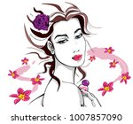 stylish woman with perfume... | Shutterstock .eps vector #1007857090