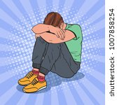 pop art depressed young man... | Shutterstock .eps vector #1007858254