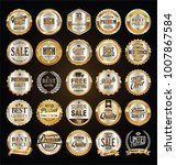 retro labels and badges gold... | Shutterstock .eps vector #1007867584