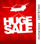 Huge sale carried by a helicopter above the city. Vector design template. - stock vector