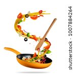 concept of flying food... | Shutterstock . vector #1007884264
