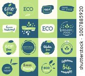 healthy food icons  labels.... | Shutterstock .eps vector #1007885920