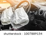 Small photo of two airbag exploded at a car accident,Car Crash air bag and illuminated