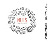 nuts and seeds frame. vector... | Shutterstock .eps vector #1007912113