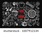food and drink vector big set... | Shutterstock .eps vector #1007912134