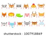 animal paper masks set of icons | Shutterstock .eps vector #1007918869