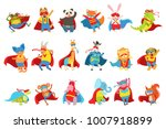 animals dressed as superheroes... | Shutterstock .eps vector #1007918899