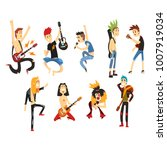 cartoon rock artists characters ... | Shutterstock .eps vector #1007919034