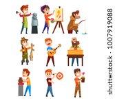 people hobby set. cartoon male... | Shutterstock .eps vector #1007919088