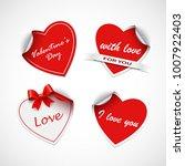 valentine red heart stickers... | Shutterstock .eps vector #1007922403
