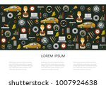 vector flat poster with car... | Shutterstock .eps vector #1007924638