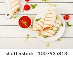 tortilla wrap with ham  cheese... | Shutterstock . vector #1007935813