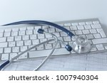 close up of stethoscope on pc...   Shutterstock . vector #1007940304
