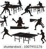 table tennis silhouettes  ... | Shutterstock .eps vector #1007951176