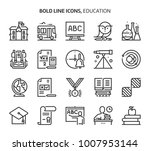 education  bold line icons. the ... | Shutterstock .eps vector #1007953144