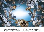 flying and falling bitcoins and ... | Shutterstock . vector #1007957890