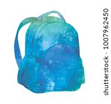 watercolor backpack on white... | Shutterstock . vector #1007962450
