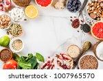 set of organic healthy diet... | Shutterstock . vector #1007965570
