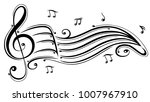 clef with music sheet and music ... | Shutterstock .eps vector #1007967910