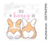 two cute hand drawn dogs lie... | Shutterstock .eps vector #1007969590