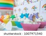 rainbow cake for birthday  | Shutterstock . vector #1007971540