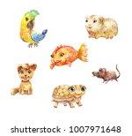 watercolor pets  little cute...   Shutterstock . vector #1007971648