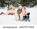 two little girls in fur coats... | Shutterstock . vector #1007977453