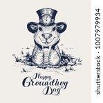 happy groundhog day lettering... | Shutterstock . vector #1007979934