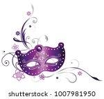 mardi gras party. purple mask... | Shutterstock .eps vector #1007981950