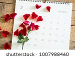 calendar february 2018 with red ... | Shutterstock . vector #1007988460