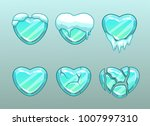 frozen hearts icons. ice heart... | Shutterstock .eps vector #1007997310