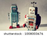 two vintage tin toy robots ...
