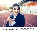 business asian woman holding ... | Shutterstock . vector #1008005038