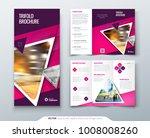 tri fold brochure design. pink... | Shutterstock .eps vector #1008008260