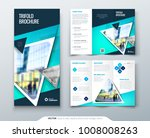 tri fold brochure design. blue... | Shutterstock .eps vector #1008008263
