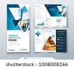 tri fold brochure design. blue... | Shutterstock .eps vector #1008008266